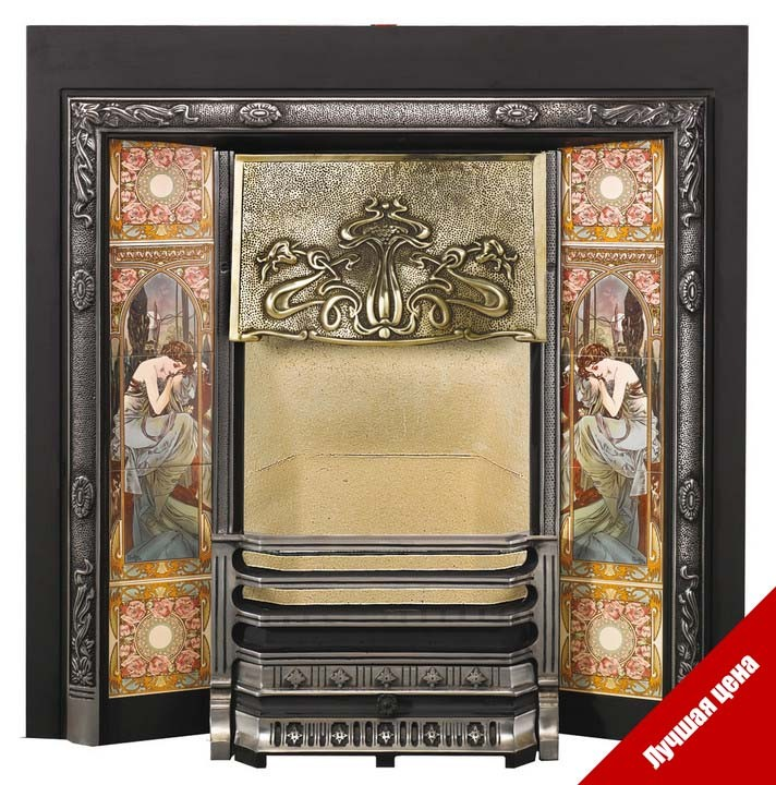 Art Nouveau Tiled Fireplace